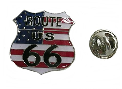 Anstecker Pin Button Metall US Route 66 Flagge USA von AW-Collection