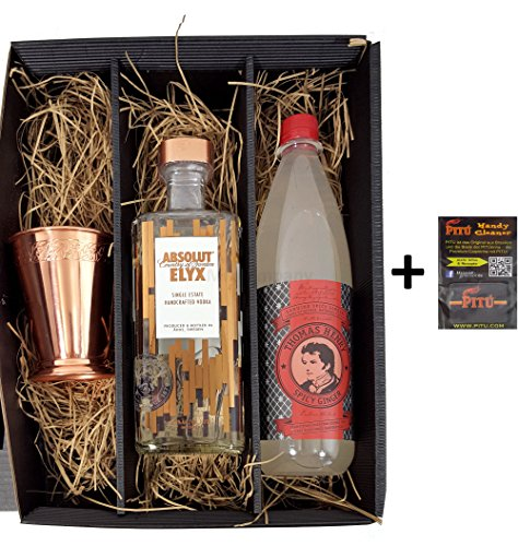 Absolut Set / Geschenkset - Absolut Vodka Elyx 1L (42,3% Vol.) + Absolut Kupferbecher + Thomas Henry Spicy Ginger 1L von Absolut
