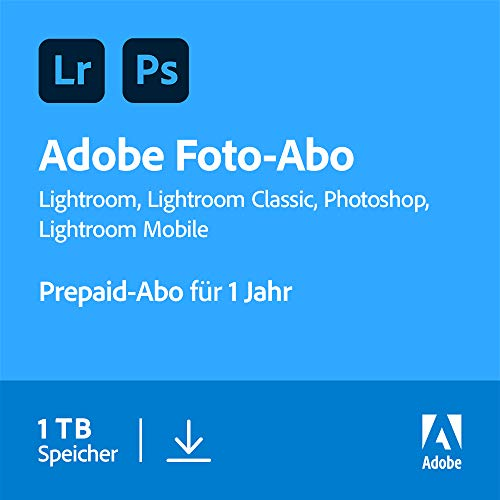 Adobe Creative Cloud Foto-Abo mit 1TB: Photoshop und Lightroom | 1 Jahreslizenz | PC/Mac Online Code & Download von Adobe