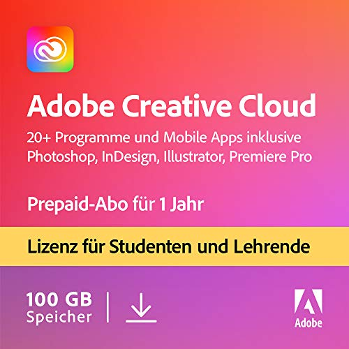 Adobe Creative Cloud All Apps | Student und Teacher | 1 Jahr | PC/Mac | Download von Adobe