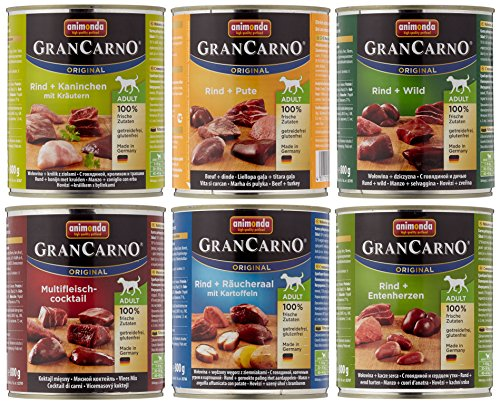 Animonda GranCarno Hundefutter Original Adult Mix 2 aus 6 Varietäten, 6er Pack (6 x 800 g) von Animonda