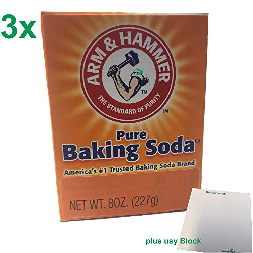 Arm & Hammer Pure Baking Soda 3er Pack (3x227g Packung reines Backsoda / Natron) + usy Block von Arm & Hammer Baking Soda