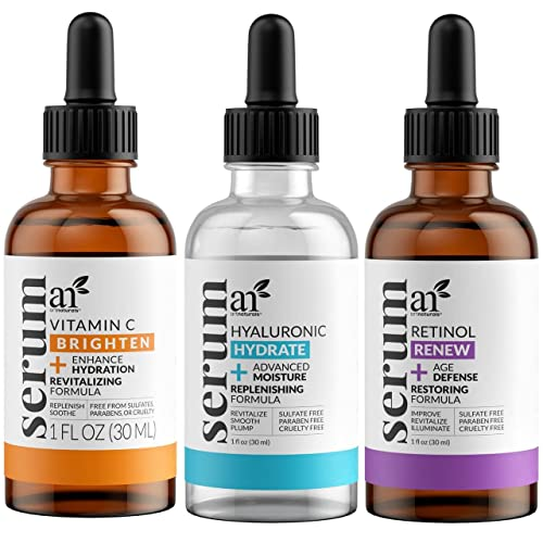 Art Naturals Anti-Aging Set: Vitamin C Serum 29 ml, Retinol Serum 29 ml, & Hyaluronsäure Serum 29 ml, Falten Reduzierend | Anti-Age Behandlung | Natürliche Inhaltsstoffe von Art Naturals