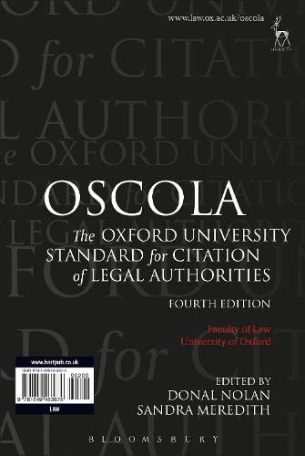 OSCOLA: The Oxford University Standard for Citation of Legal Authorities von Hart Publishing