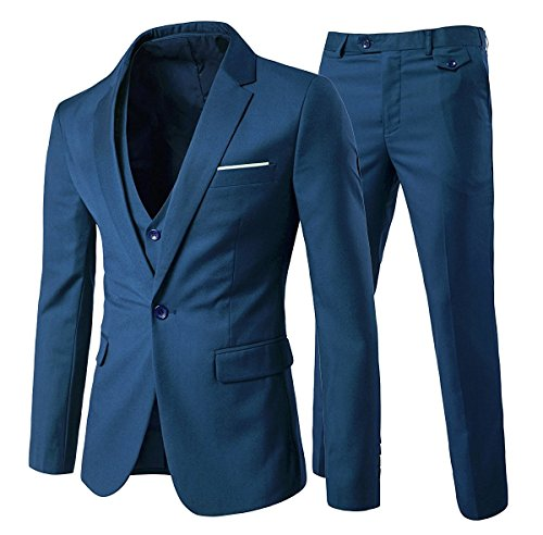 Slim Fit  3-Teilig Business Herrenanzug ein Knopf Smoking,Blau, Gr. XL von Cloudstyle