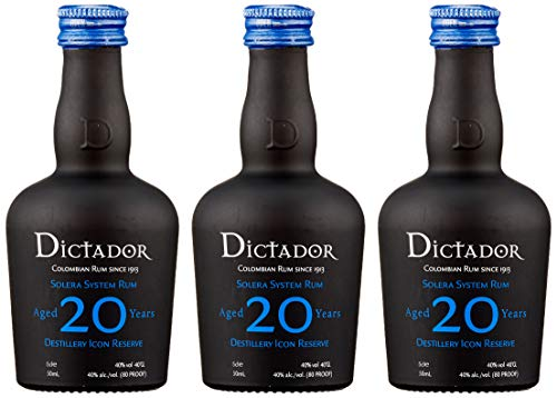 Dictador 20 Years Distillery Icon Reserve Rum (3 x 0.05 l) von Dictador
