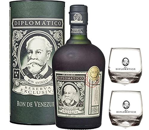 RON RESERVA EXCLUSIVA 70 CL IN ASTUCCIO e43 2 BASCULANTI DIPLOMATIC GLASS von Diplomatico