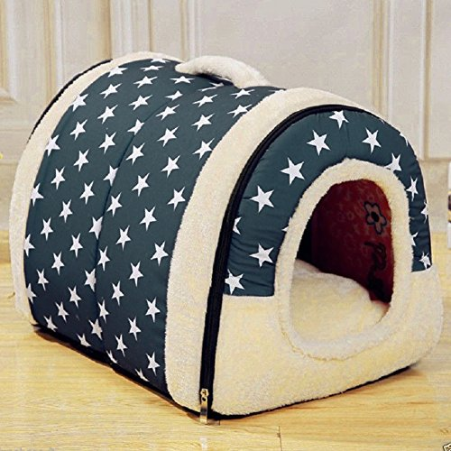 Enko Luxury Cozy 2-in-1 Pet House and Sofa, High Quality Indoor Portable Foldable Dog Room / Cat Bed. Prepare a Warm House for Your Pet. (blau) von Enko