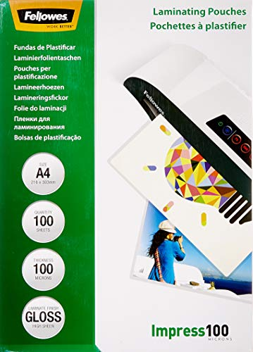Fellowes 53511 Laminierfolien (Impress 100 Mikron, DIN A4) 100er Pack von Fellowes