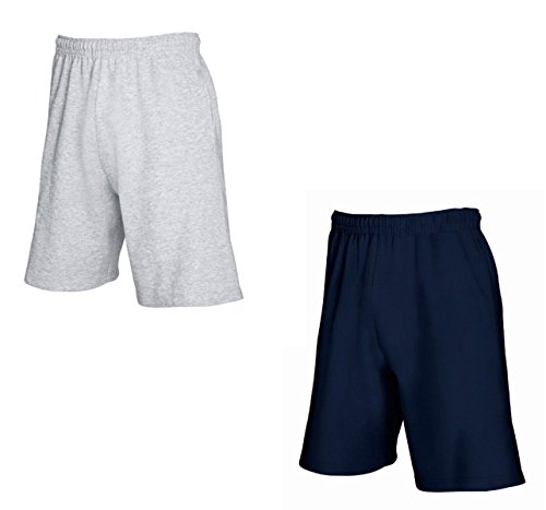 """2er-Pack Fruit of The Loom Herren Kurze Sporthosen Jogginghosen Lightweight Shorts (L, Grau & Navy)"" von Fruit of the Loom"