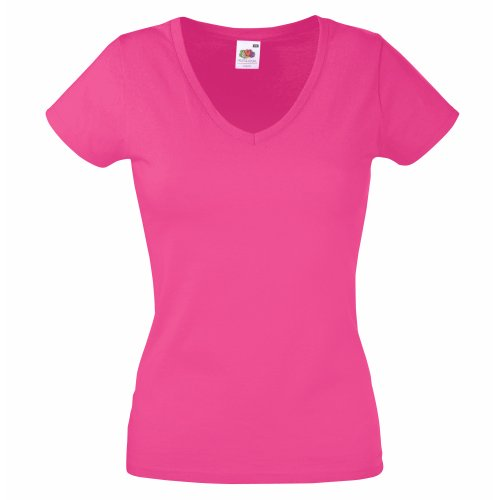 Fruit of the Loom Damen T-Shirt Valueweight V Neck Lady-fit, Rosa (Fuschia), X-Small von Fruit of the Loom