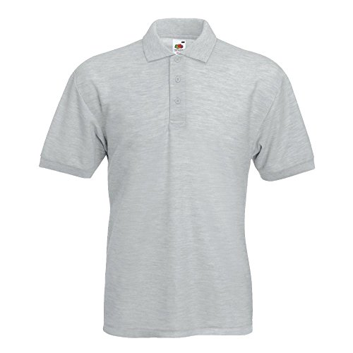 Fruit of the Loom - Piqué Polo Mischgewebe / Heather Grey, L L,Heather Grey von Fruit of the Loom