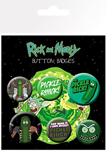 GB eye and Morty Pickle Rick Badge Pack, Aluminium, verschieden, 14 x 0.3 x 10 cm von GB eye