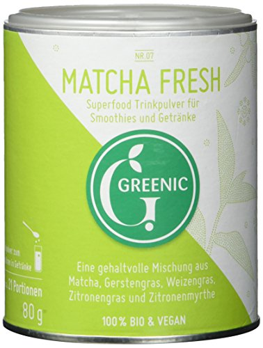 Greenic Matcha Fresh Superfood Trinkpulver Mischung, 1er Pack (1 x 80 g) von Greenic