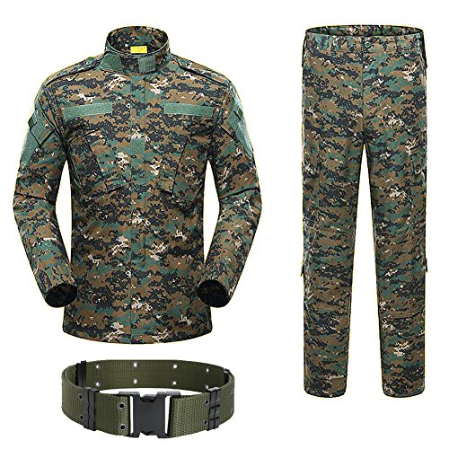 H Welt Shopping Military Tactical Herren Jagd Combat BDU Uniform-Shirt und Hose mit Gürtel Woodland Digital Aor2, AOR2 von H World Shopping