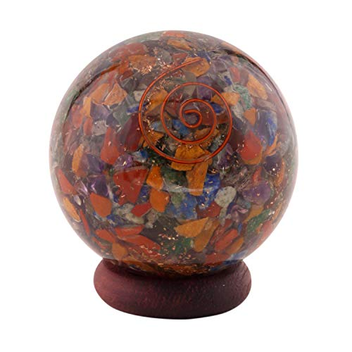 Healing Crystals India Natural Gemstone Chips Orgone Chakra Sphere Ball SB0258 50-60mm 1 Piece Multi Color by Healing Crystals India von Healing Crystals India