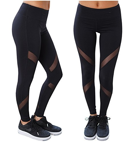 Hippolo Schwartz Damen Sporthose Yoga Fitness Gym Laufen Jogging Tennis Squash Hockey Leggings Stretch-hose (M) von Hippolo