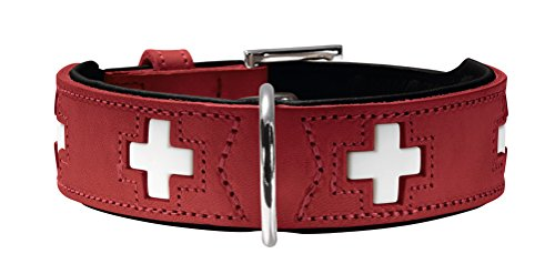 Hunter Hundehalsband Swiss, Leder, 60, rot/schwarz von HUNTER
