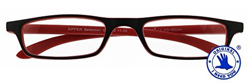 I NEED YOU Lesebrille Zipper Selection SPH: 2,50 Farbe: schwarz-rot, 1 Stück von I Need You