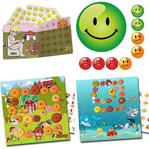 Kinder Belohnungssystem Töpfchen Training Magic Potty + Bauernhof + Aquarium + Smiley Set 3 Farben von LK-Trend & Style