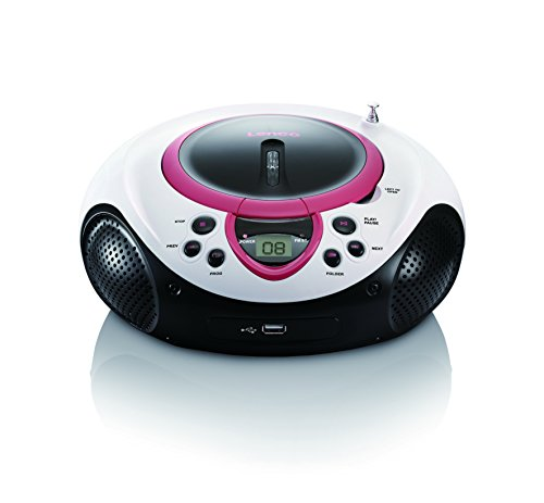 Lenco SCD-38 Tragbares UKW-Radio mit CD/MP3-Player (USB 2.0) pink von Lenco