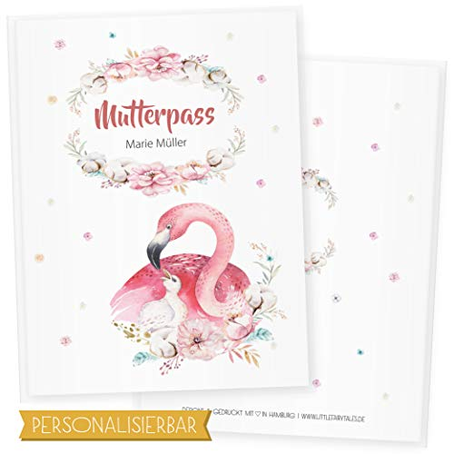Mutterpasshülle 3-teilig Niedliche Tiere, Mutterpass Hülle, Schöne Geschenkidee für Babyparty (Mutterpass DE personalisiert, Flamingo) von Little Fairy Tales
