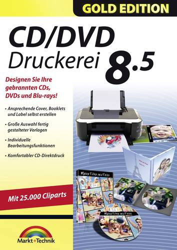 Markt & Technik CD/DVD Druckerei 8.5 Gold Edition Vollversion, 1 Lizenz Windows Multimedia-Software, von Markt & Technik