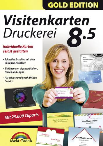 Markt & Technik Visitenkarten Druckerei 8.5 Gold Edition Vollversion, 1 Lizenz Windows Büroorganisa von Markt & Technik