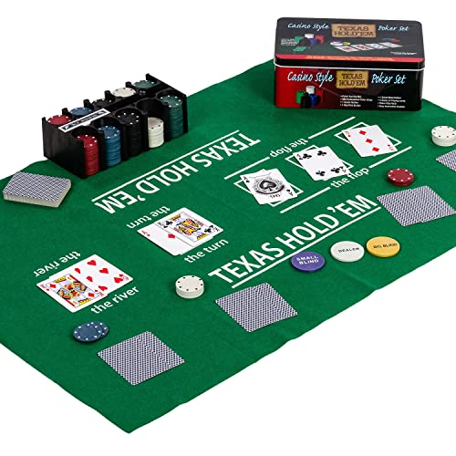 Maxstore Pokerset in Metallbox, 200 Poker Chips, 2 Decks, Dealer Button, Small Blind, Big Blind, Spielmatte Texas Holdem von Maxstore