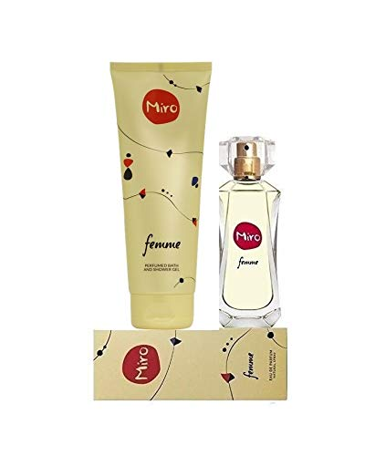 MIRO FEMME Duft & Pflegeset. Eau de Parfum Natural Spray 50 ml + Perfumed Bath and Shower Gel 400 ml + Seife mit grünem Tee Extract 20 gramm von Miro