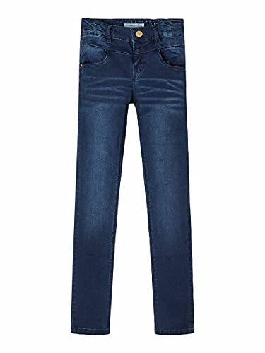 NAME IT Mädchen NKFPOLLY DNMTRILLE 3001 Pant NOOS Jeans, Blau (Dark Blue Denim), 158 von NAME IT