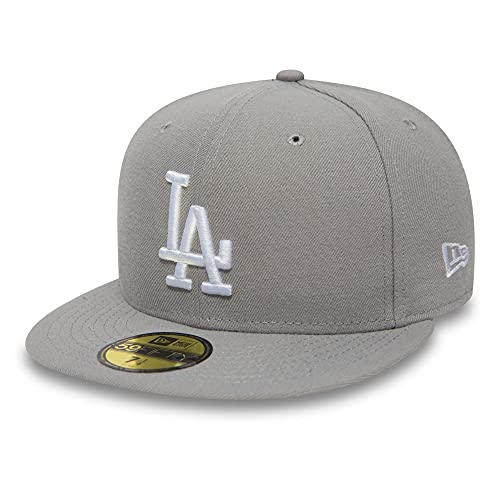 New Era Unisex -59FIFTY – LA Dodgers Essential Mütze, grau (Grau-Weiß), 7 1/8 von New Era