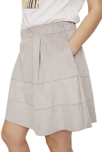 Noisy may Damen NMLAUREN Faux Suede Skirt NOOS Rock, per Pack Grau (Ash Ash), 36 (Herstellergröße: S) von Noisy may