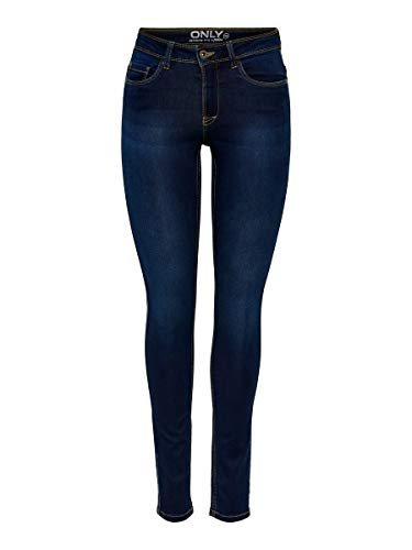 ONLY Damen Skinny Jeans 15077791/SKINNY SOFT ULTIMATE 201, Blau (Dark Blue Denim), Gr. L/L34 (L) von ONLY