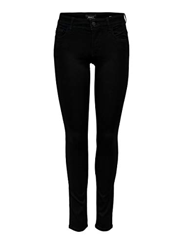 ONLY Damen Jeans Normaler Bund 15077793/SKINNY REG. SOFT ULTIMATE BLACK NOOS, Gr. 36/32 (S), Schwarz (Black Denim) von ONLY