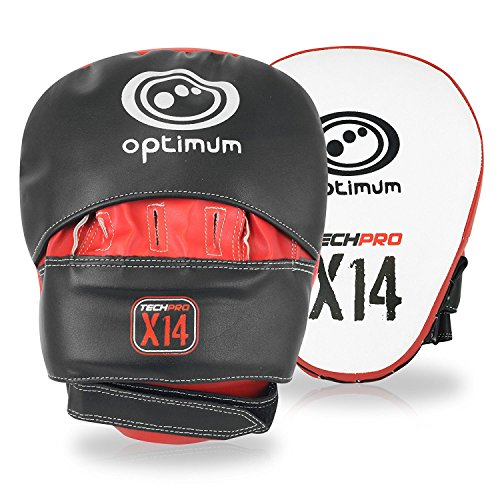 "OPTIMUM Optimale Tech Pro 14""Focus Pads Hook and Jab, Schwarz/Rot von OPTIMUM"