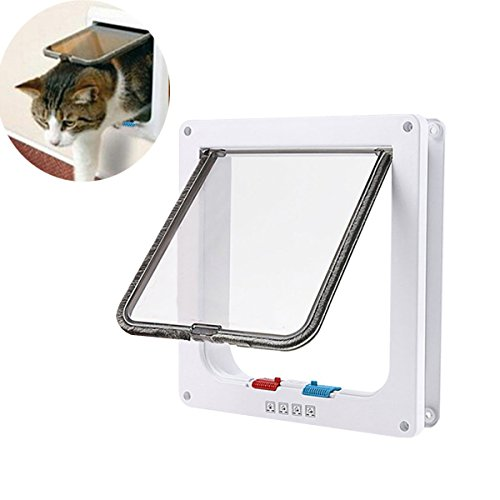 "RCRuning-EU Cat Flap Large, Katzenklappe, Cat Door 4-Way Lockable Flaps for Pet Cats (Große 9.21"" x 9.84"", Weiß) von RCRuning-EU"