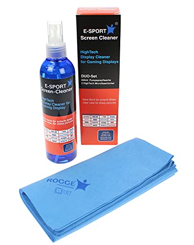 Rogge E-Sport Screen Cleaner, 250ml HighTech Display Cleaner für Gaming Displays inkl. 2 Prof. Microfasertücher 38x40cm. von Rogge