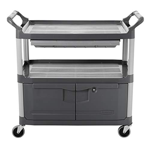 Rubbermaid Commercial HDPE Service Cart with Lockable Doors and Sliding Drawer - Grey von Rubbermaid Commercial Products