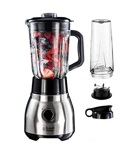 Russell Hobbs Standmixer Glas Steel 2-in-1, inkl. To-Go-Becher & Deckel, 1.5l Glasbehälter, Mixer 0.8 PS-Motor, Impuls-/Ice-Crush Funktion, mini Smoothie-Maker 23821-56 von Russell Hobbs