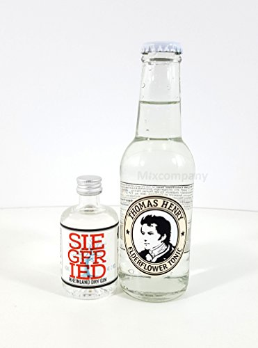 Gin Tonic mini Set - Siegfried Rheinland Dry Gin 40ml (41% Vol) + Thomas Henry Elderflower Tonic 200ml von Siegfried