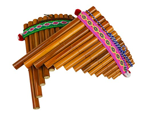 Sunny Times - Panflöte, Kinder Musikinstrument, 13 Rohre Indianer Peru, Traditionell, natur von Sunny Times