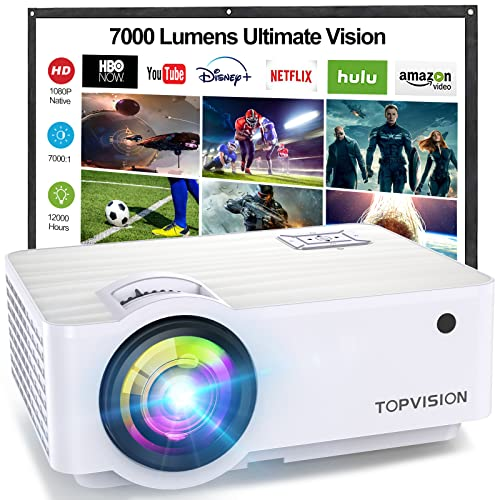 TOPVISION Heimkino Beamer, Native 1080P Mini Beamer Full HD, 4500 Lumen Video Projektor mit Maximalem 240'' Display, 60000 Stunden Lampenlebensdauer, Kompatibel mit HDMI/VGA/USB/AV/TV-Stick/PS4 usw von TOPVISION