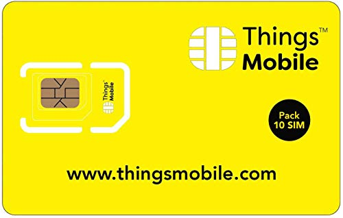 Pack 10 Prepaid-SIM-Karte Things Mobile für IoT und M2M mit weltweiter Netzabdeckung. Ideal für Domotik, GPS Tracker, Telemetrie, Alarme, Smart City, Automotive. Kredit nicht inbegriffen. von Things Mobile