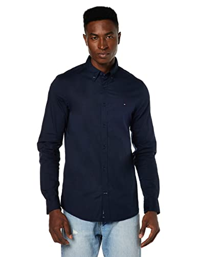 Tommy Hilfiger Herren Slim Fit Freizeit Hemd STRETCH POPLIN SF2, Gr. Small, Blau (MIDNIGHT 403) von Tommy Hilfiger
