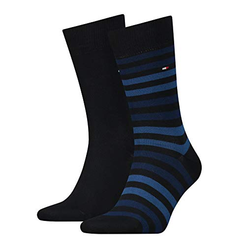 Tommy Hilfiger Herren TH Men Duo Stripe Sock 2P, 2er Pack, Blau (Dark Navy 322), 43/46 von Tommy Hilfiger