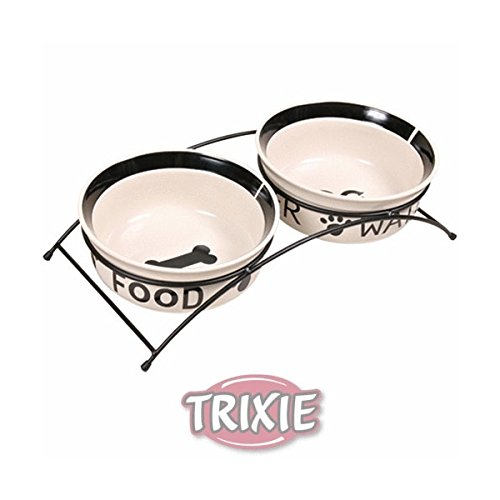 Trixie Napf-Set Eat on Feet, 2 × 0,25 l/ø 13 cm, weiß/schwarz von Trixie