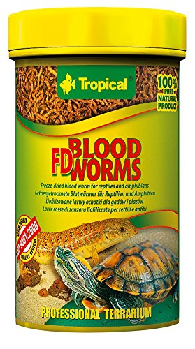 Tropical Blood Worms Freeze-dried food for Aquatic and Land Turtles, Reptiles and Amphibians, 1er Pack (1 x 100 ml) von Tropical