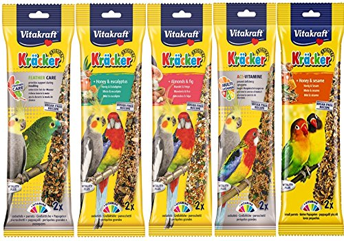 Vitakraft Mixed Vielzahl 5 x Twin Pack 10 Sticks Sittiche Nymphensittiche Aufhängen Käfig BIRD SEED behandelt von Vitakraft