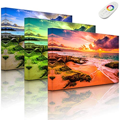 Lightbox-Multicolor | Wandbild mit LED Beleuchtung | Sonnuntergang auf Hawaii | 100x70 cm | Fully Lighted von lightbox-multicolor.com